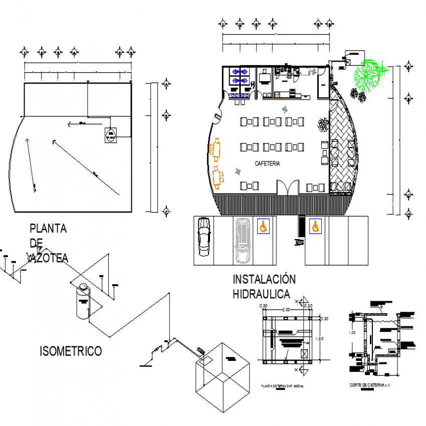 The cafeteria plan with detailed dwg file.