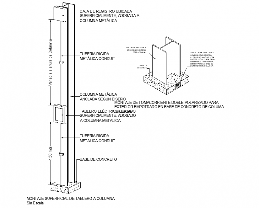 The column plan with a detailing & dwg file.