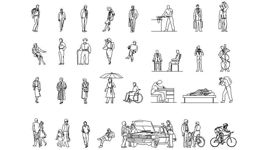 The different block of people in different working, seating and standing position dwg file