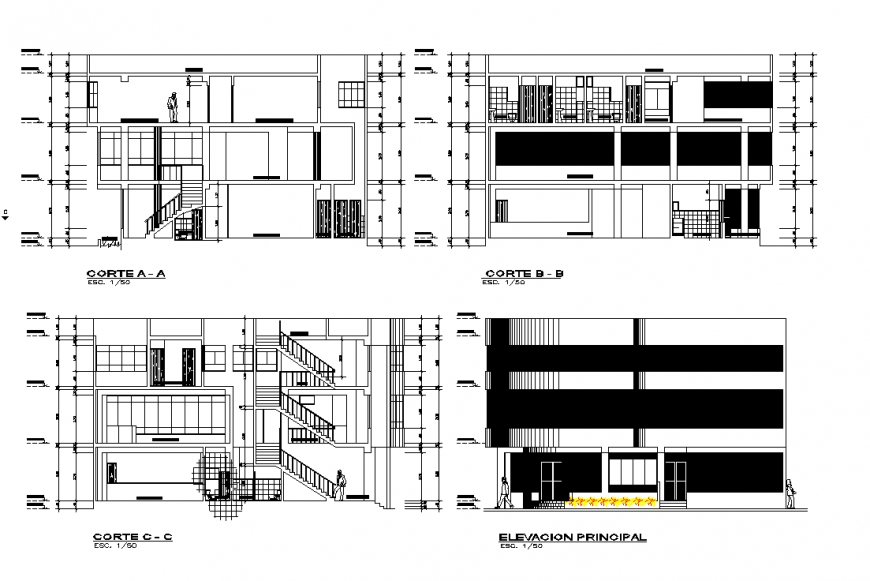 The Elevation and section commercial building plan autocad file