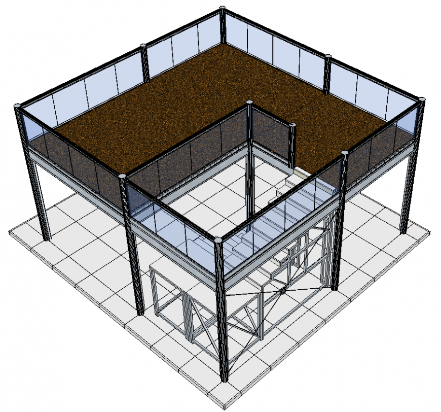The glass house plan with detail dwg file.