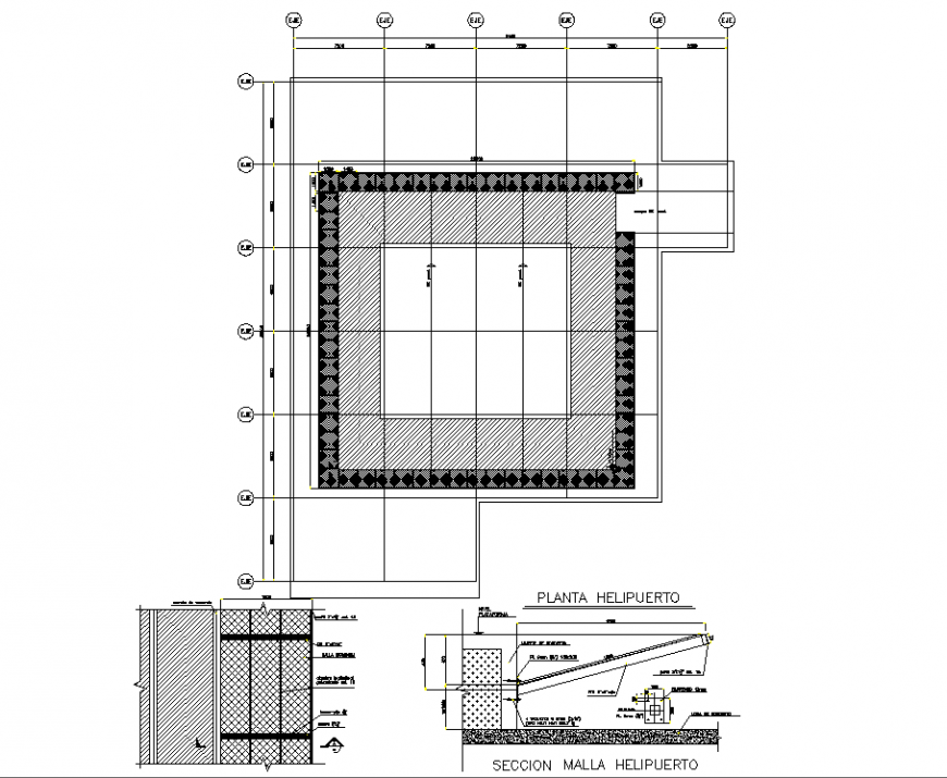 The helipad structural plan detail dwg file.