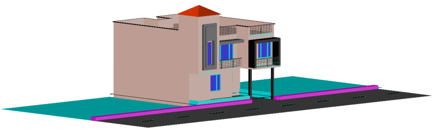 The house plan with 3D a detail of dwg file.