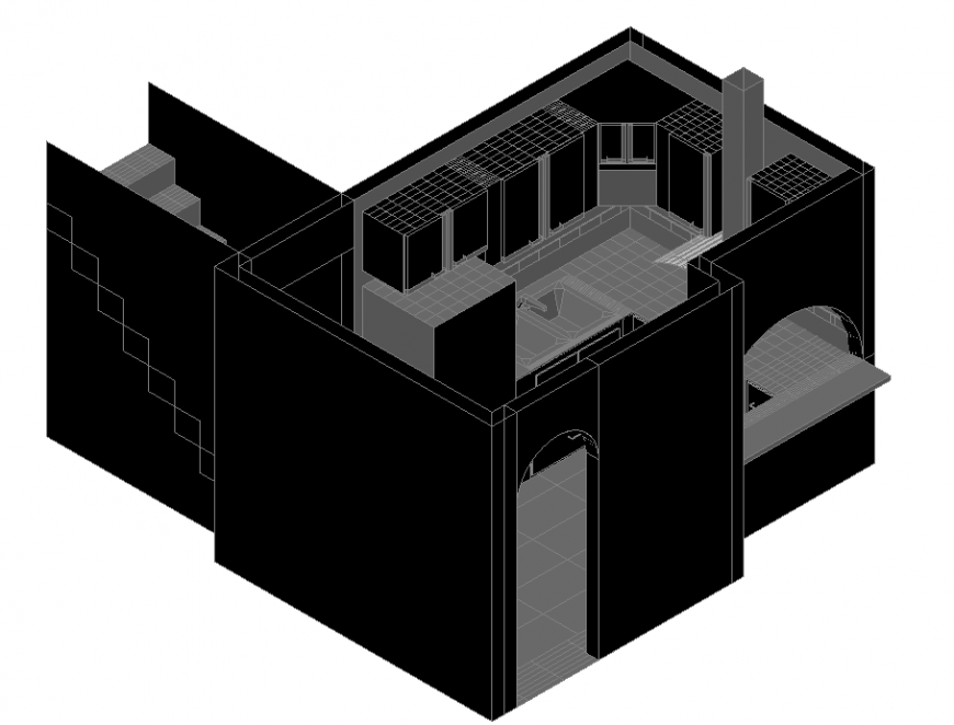 The house plan with 3D detail dwg file.