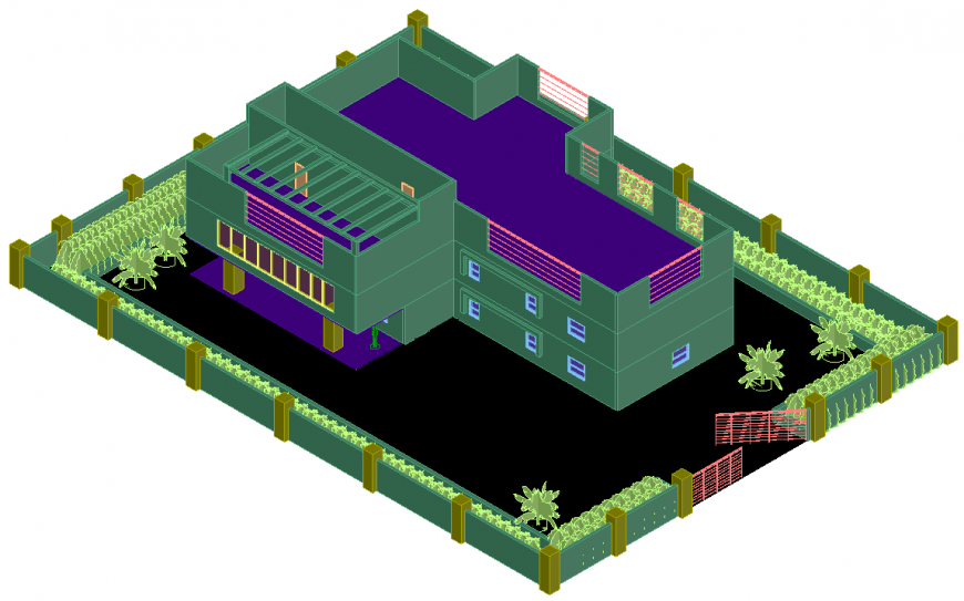 The house plan with 3D detail of dwg file.
