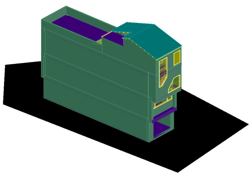 The house plan with 3D detailing dwg file.