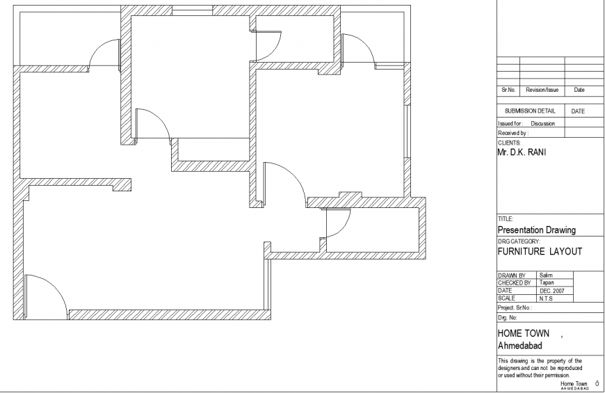 The house plan with a detail a dwg file.