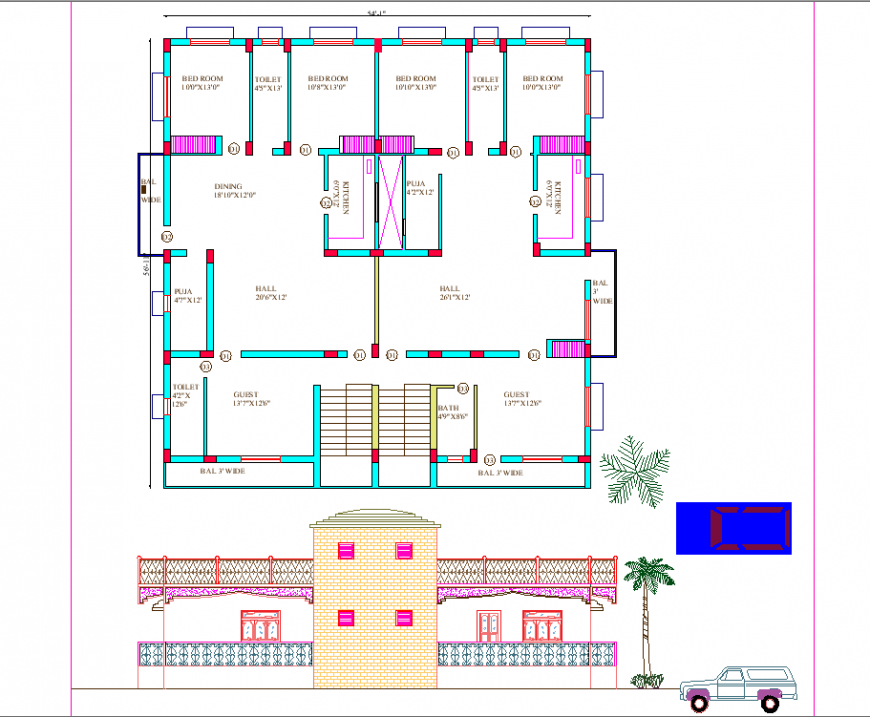 The house plan with a detailing dwg file.