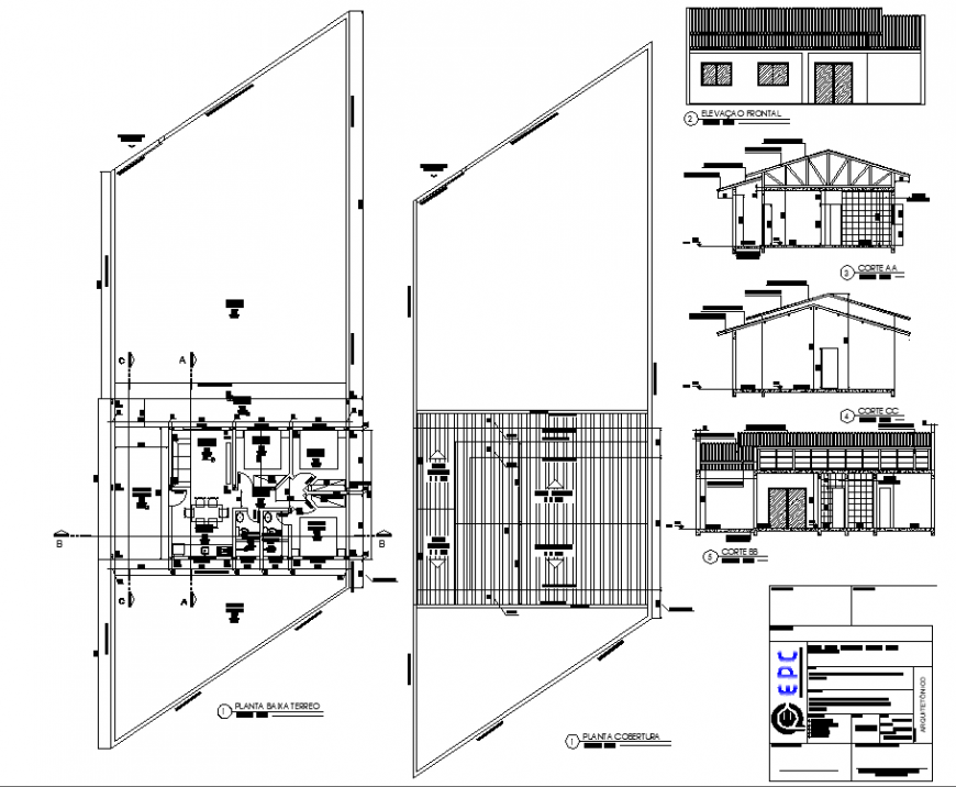The house plan with a detailing of dwg file.