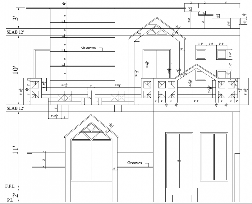 The house plan with a detailing of the dwg file.