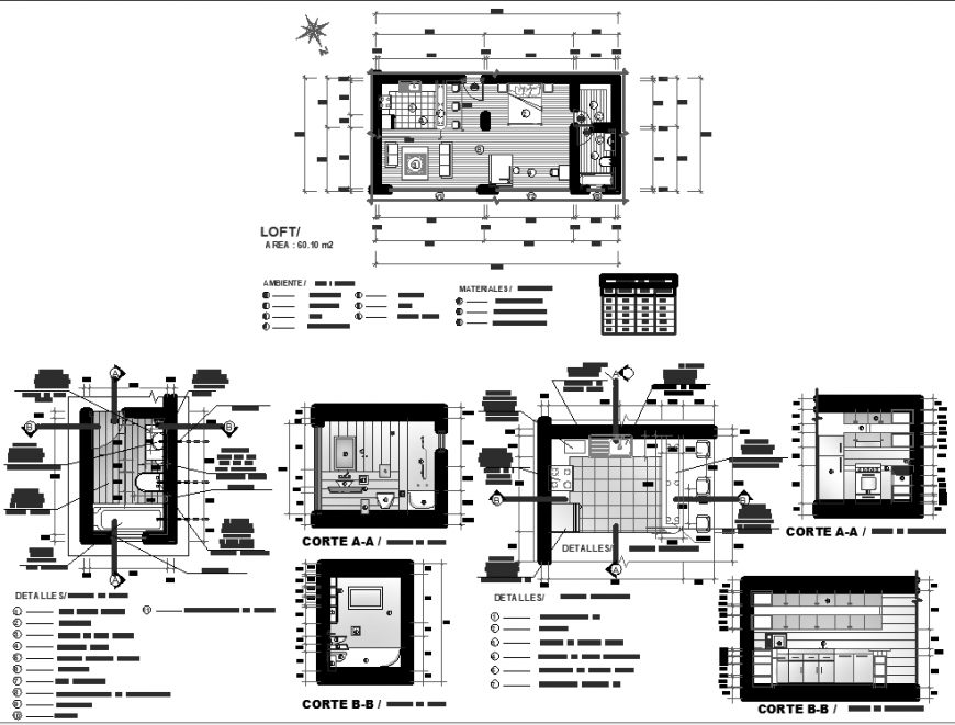 The house plan with a furnished detailing of a dwg file.