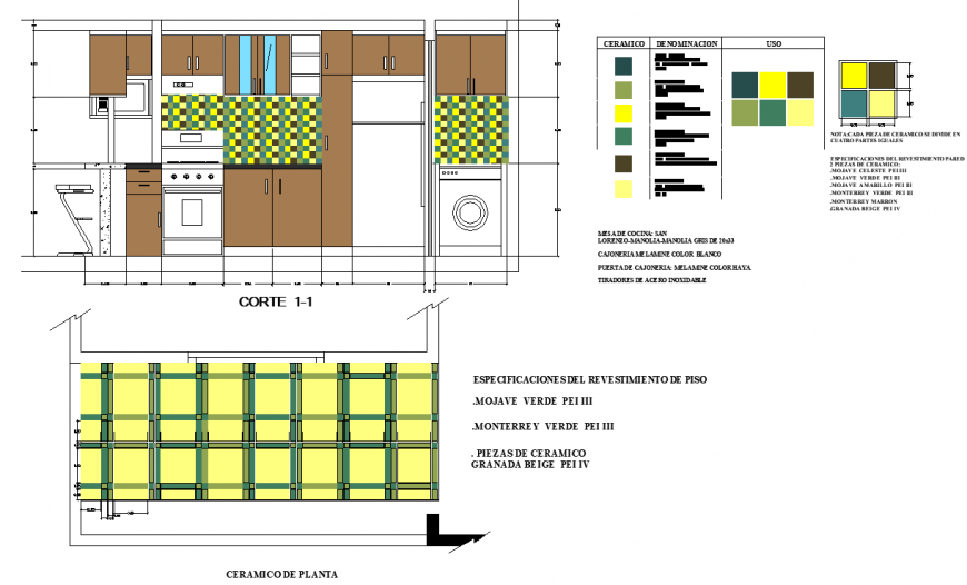 The kitchen plan detailing of dwg file.