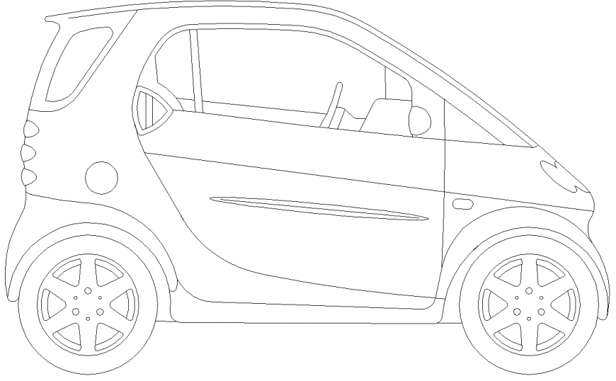 The plan of a car with the detail  dwg file.