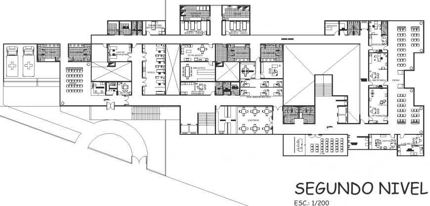 The plan of cafeteria detail dwg file.
