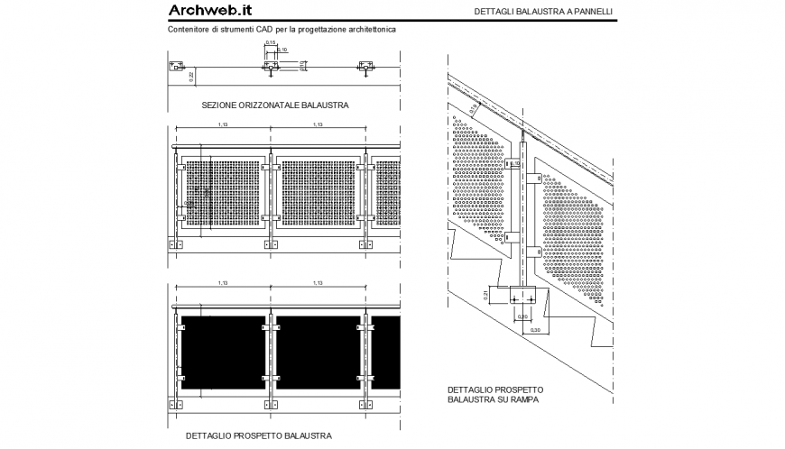 The railings plan and elevation detail dwg file.