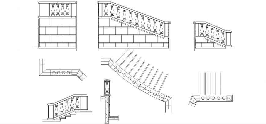 The railings plan and elevation with a detail dwg file.