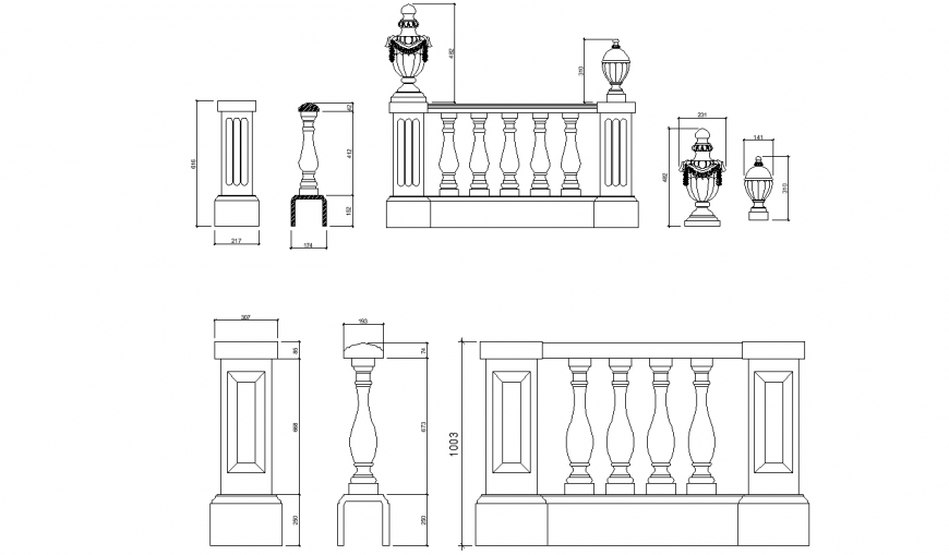 The railings plan and elevation with a detailing dwg file.