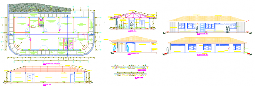 The resort plan with furnished detailing of a dwg file.