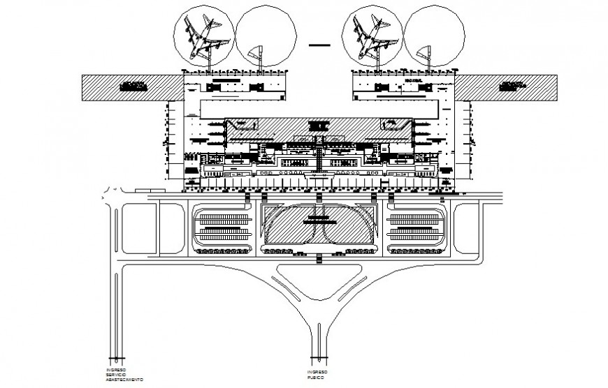 The terminal building and parking aerodrome details in autocad