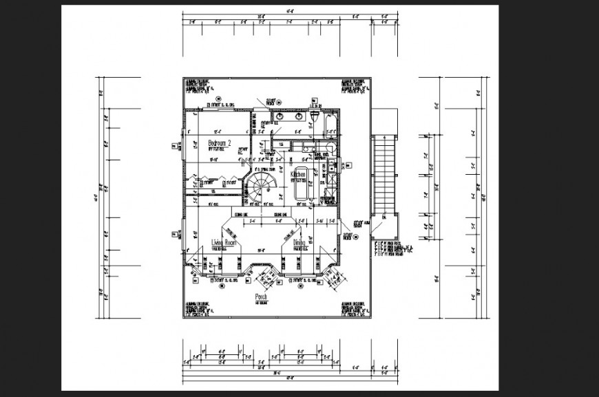 The top view house plan with detail dwg file.