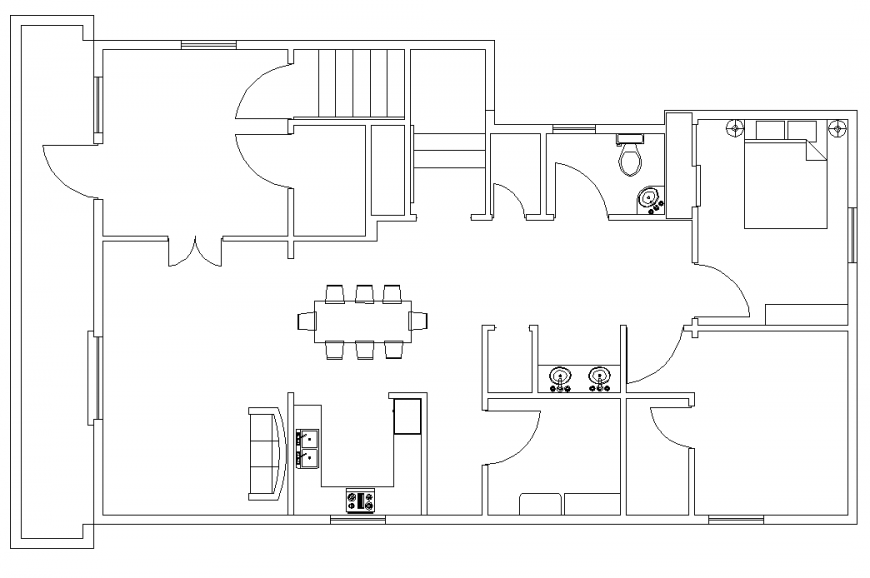 The top view house plan with furnished detailing of a dwg file.