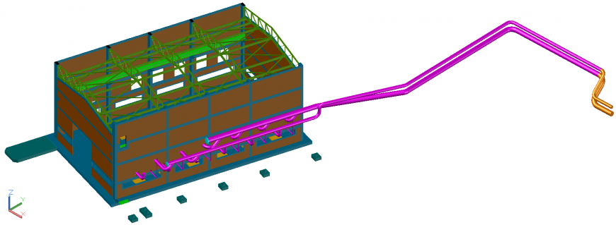 The top view of factory plant dwg file.