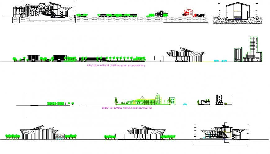 Theater building detail elevation 2d view CAD structural block layout file in dwg format
