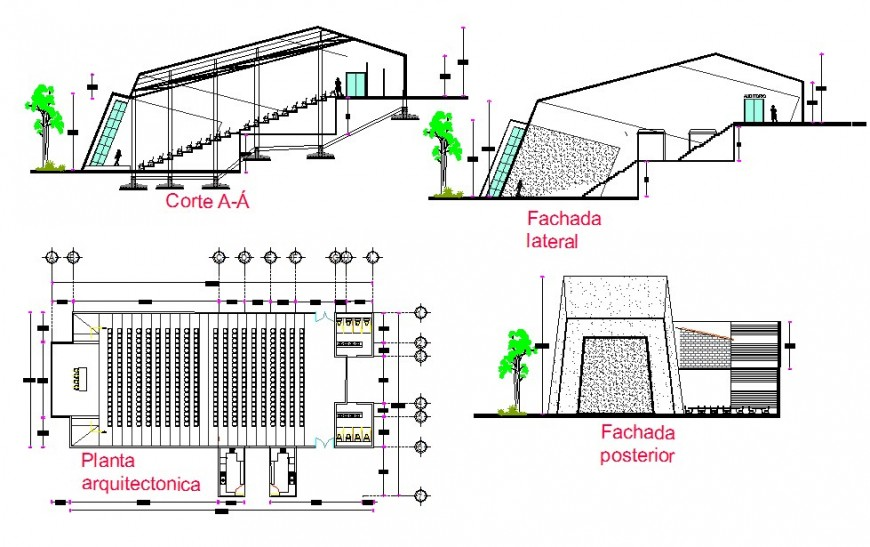 Theater building detail plan, elevation and section 2d view CAD structural block autocad file