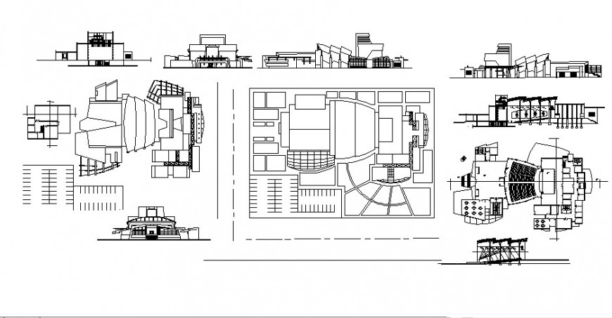 Theater building work plan with elevation 2d drawing in autocad