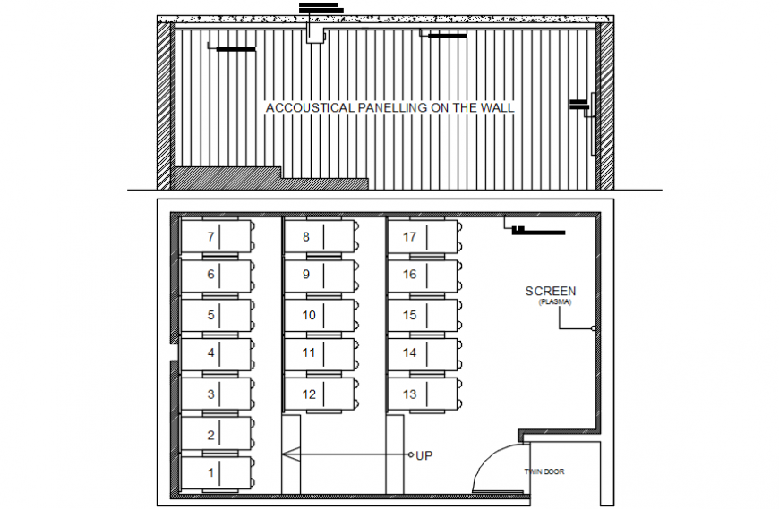 Theater screen wall section and plan cad drawing details dwg file