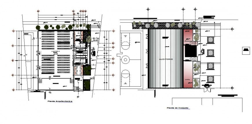 Theatre building structure detail plan 2d view CAD construction unit autocad file