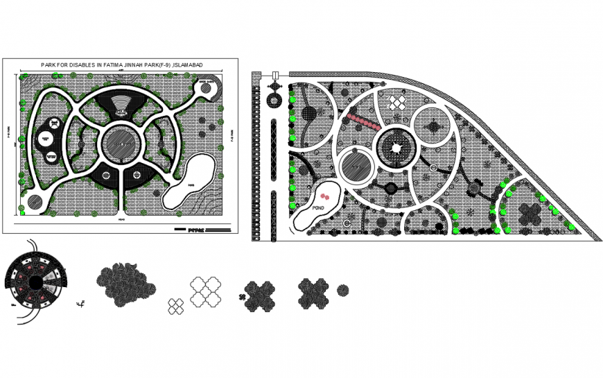 Them park landscaping structure details with park equipment dwg file