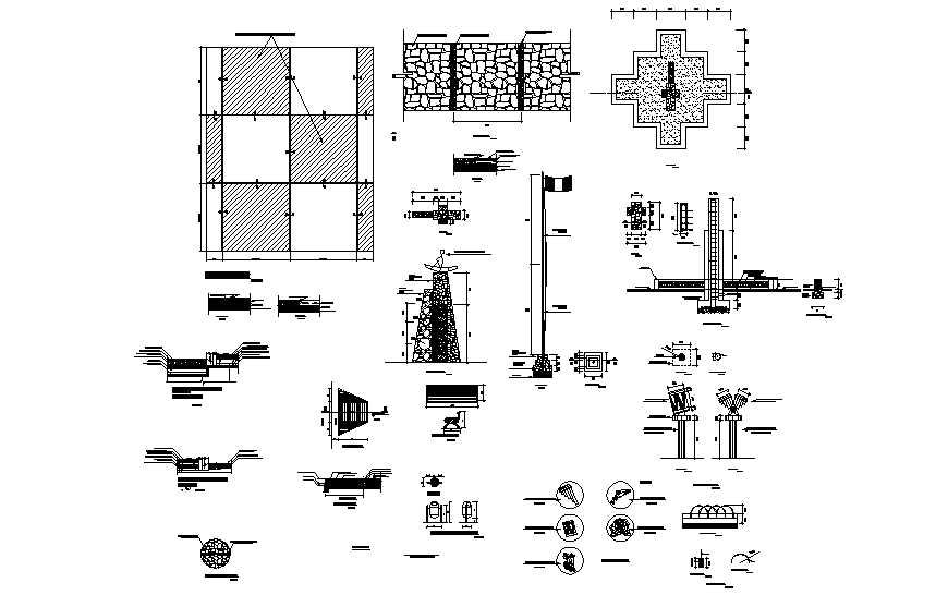 Theme park equipment and landscaping and constructive structure details dwg file