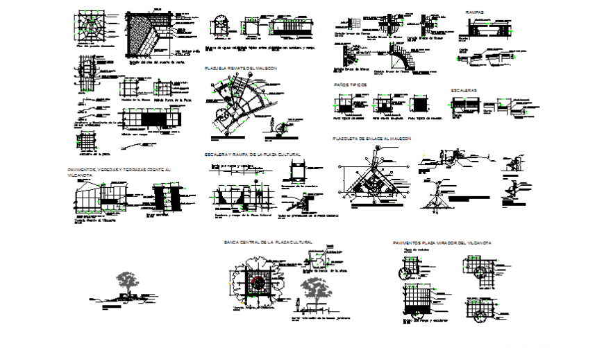 Theme park equipment and landscaping automation and structure details dwg file