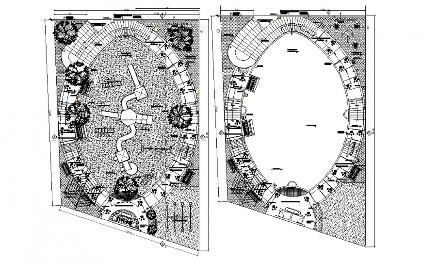 Theme park with sports ground landscaping structure plan details dwg file