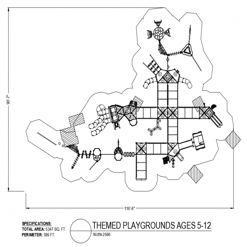 Themed play ground for children 5 to 12 years of model no. 2566 dwg file