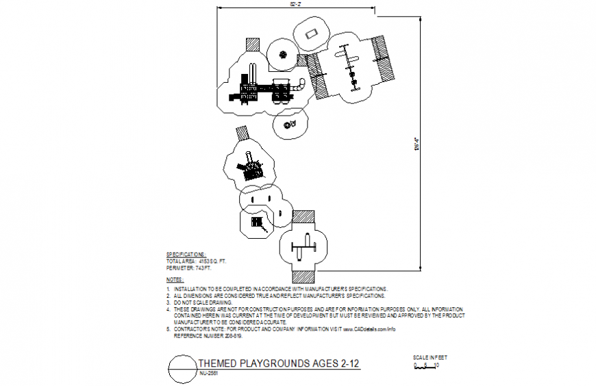 Themed playground design with a view of specification dwg file