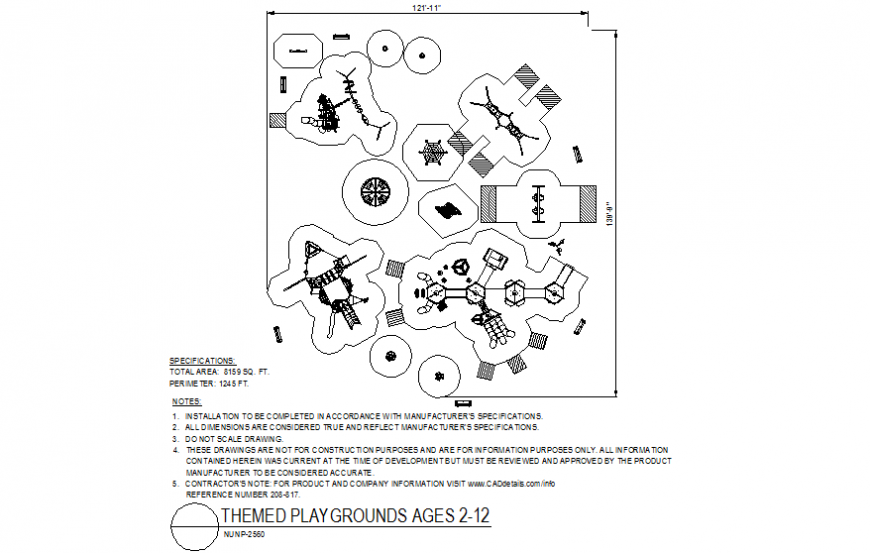 Themed playground for 2 to 12 years child playing area dwg file