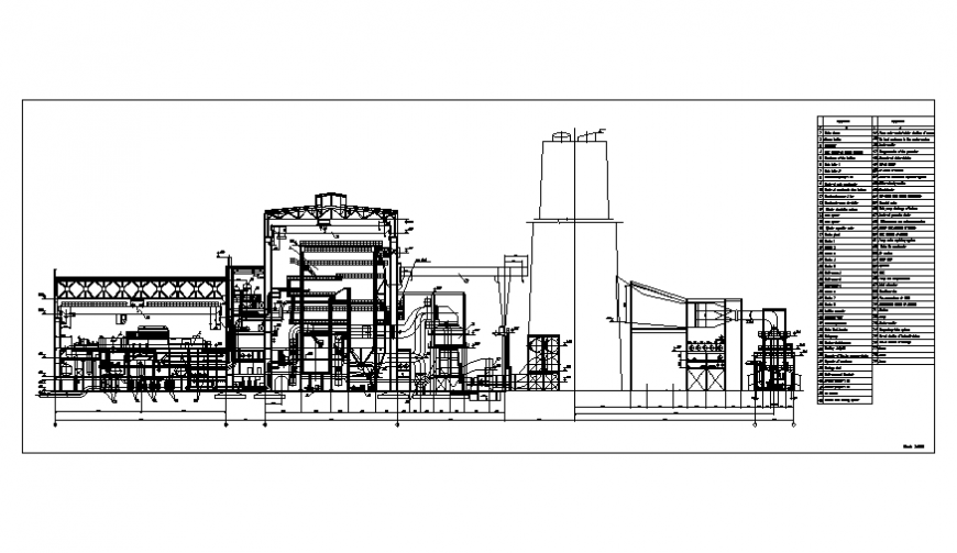 Thermal power station plant main sectional details dwg file