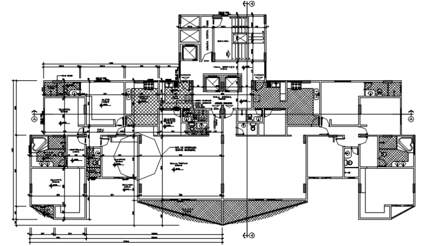 Third floor distribution plan details of apartment building dwg file