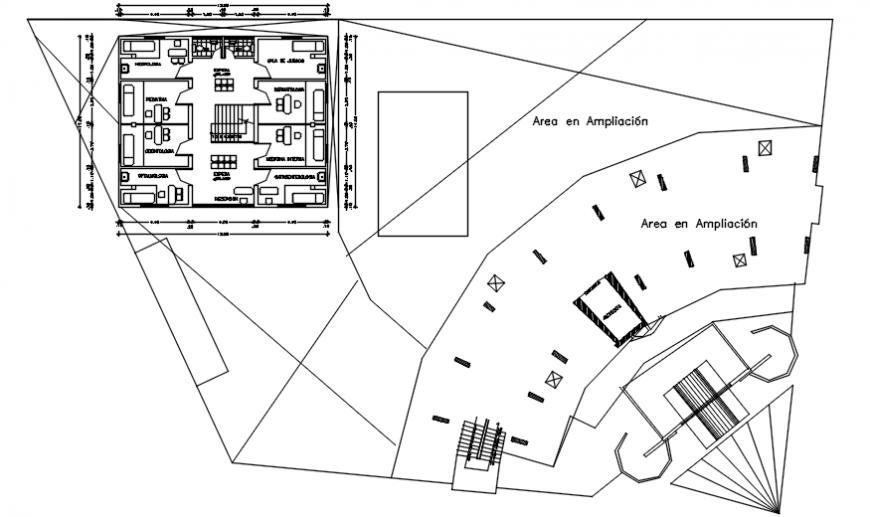 Third and fourth floor architectural plan of clinic in AutoCAD