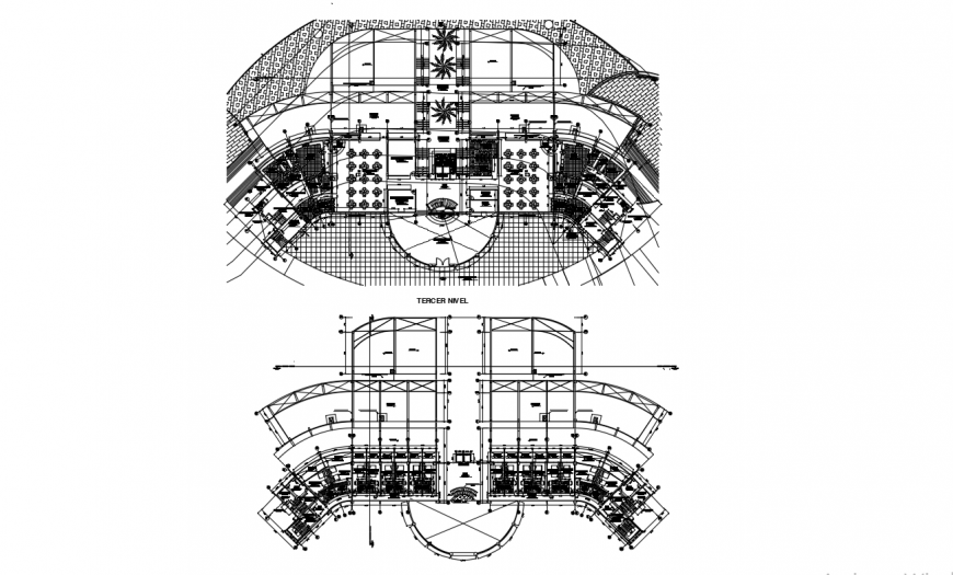 Third and fourth floor distribution plan cad drawing details dwg file