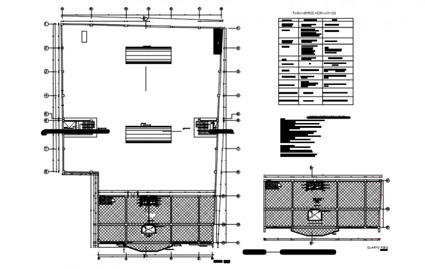 Third and fourth floor plan of hotel auto cad file