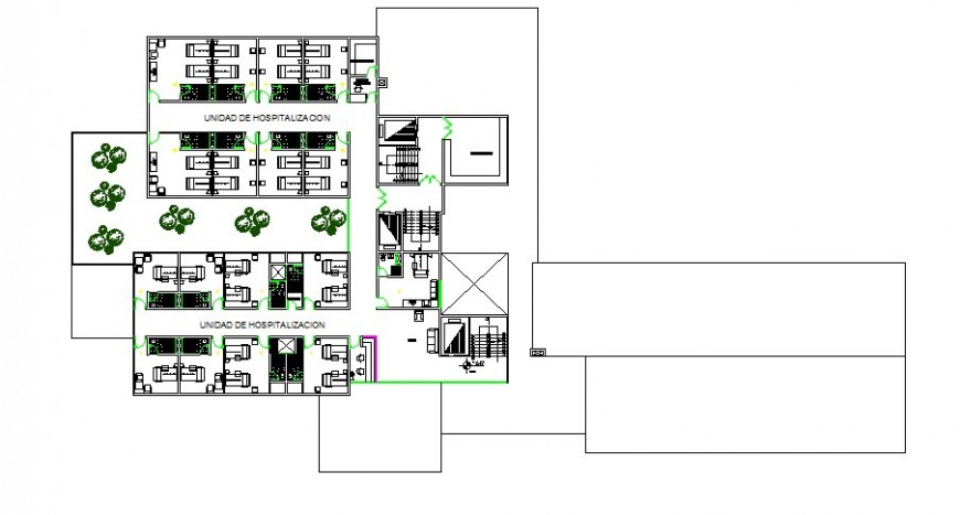Third and fourth plan details of multi-level hospital dwg file