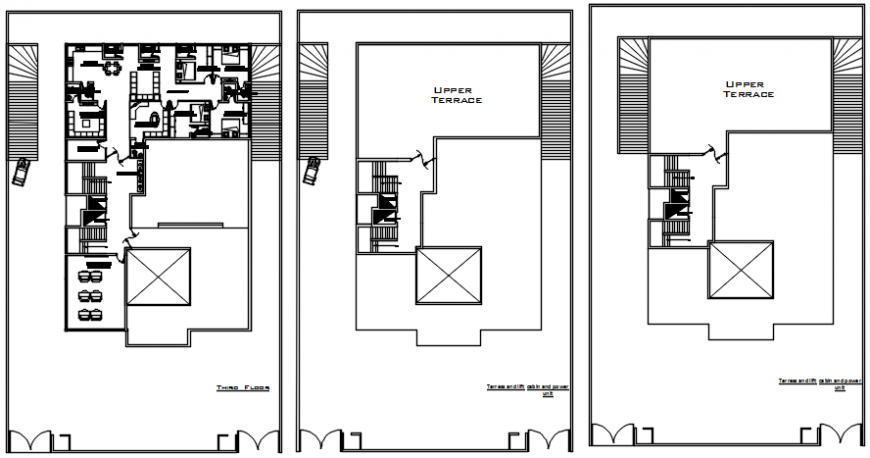 Third floor and terrace floor layout drawing details for hospital dwg file