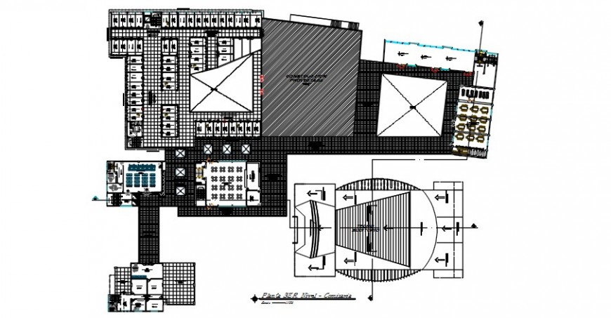 Third floor distribution drawing details of corporate office building dwg file
