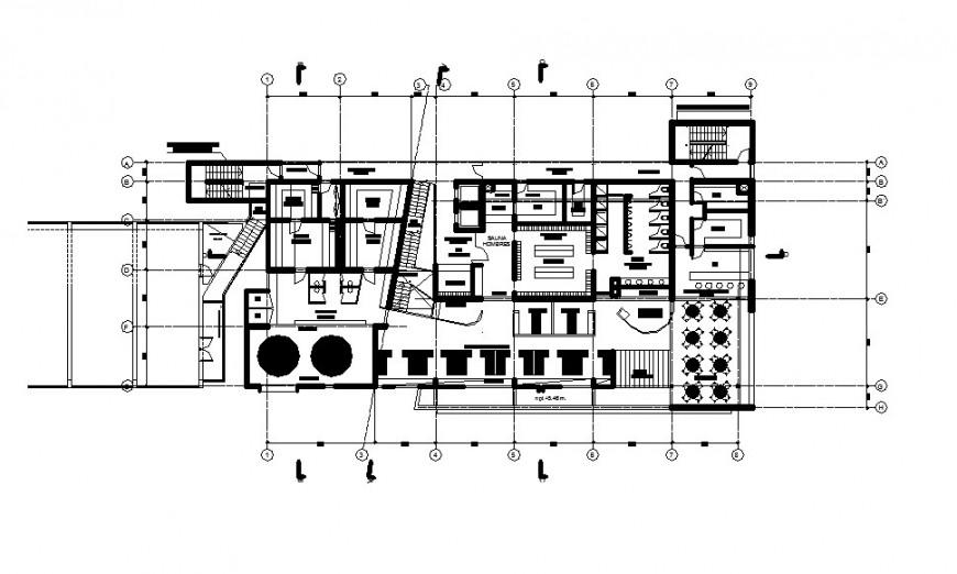 Third floor distribution layout plan details of sauna hotel building dwg file