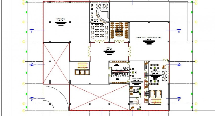 Third floor distribution plan details of auditorium hall dwg file
