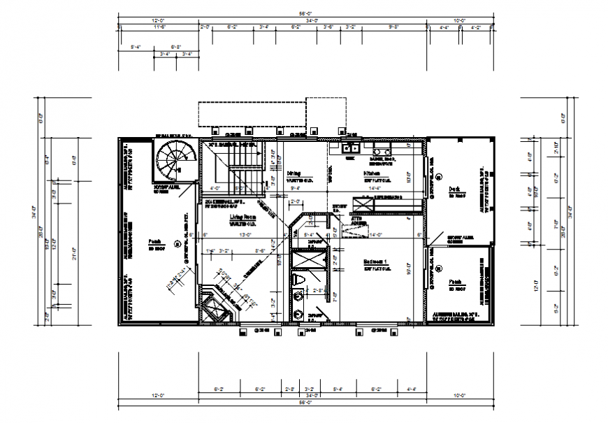 Third floor layout plan and framing plan details of house dwg file