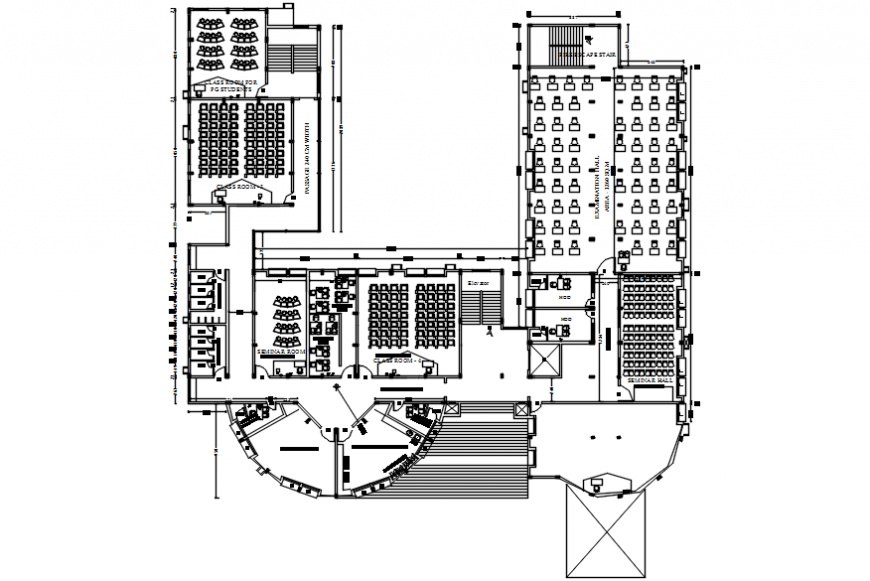 Third floor layout plan drawing details of college building dwg file